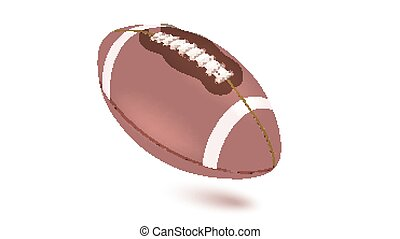 American striped football ball, diagonal position in frame. Horizontal realistic vector 3D illustration isolated on white background. Icon of the flying Rugby ball with shadow