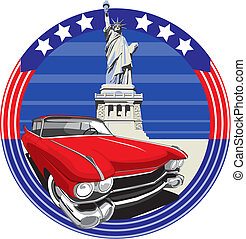 American Style II - vectorial image of vintage car on a...