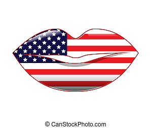 American Style Lips - Lips filled with American flag pattern...