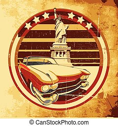 American Style Poster - old paper background with round...