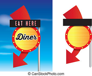 vintage style cafe or diner signs isolated on white