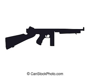 american submachine gun silhouette isolated on white, eps 10...