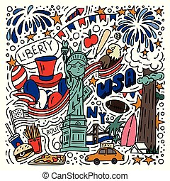 American symbols doodle style hand drawn poster