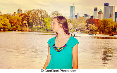 American Teenage Girl Traveling in New York at Central Park