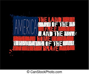 American Text Flag - America Land of the Free Home of the Brave