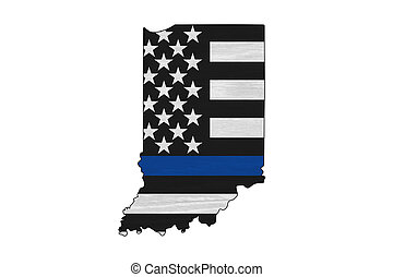 American thin blue line flag on map of Indiana