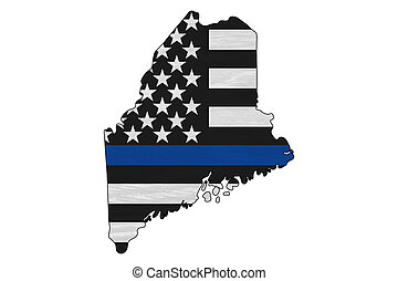 American thin blue line flag on map of Maine