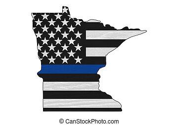 American thin blue line flag on map of Minnesota