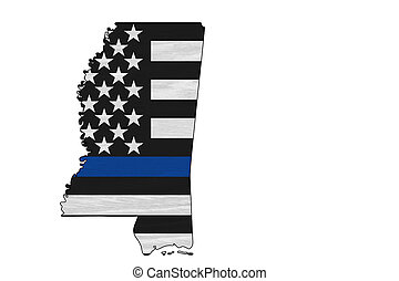 American thin blue line flag on map of Mississippi