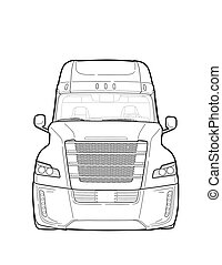 American trailer truck black and white sketch