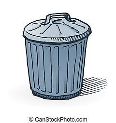 American Trash Can - Handmade illustration of garbage bin on...