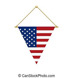 American triangle flag hanging, vector illustration