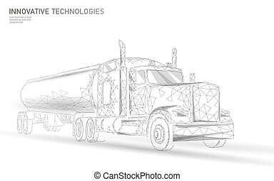 American truck low poly. Logistic transportation business trailer. Fast speed industry cargo delivery big heavy vehicle perspective view on highway. 3D vector illustration