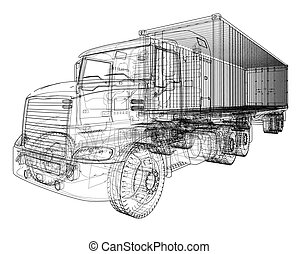 American truck outlined vector rendering of 3d