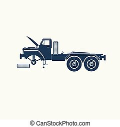 American truck without a trailer and wheel icon.
