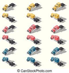 American trucks isometric low poly icon set