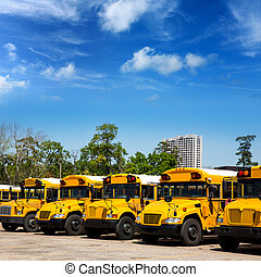 American typical school buses row in a parking lot -...