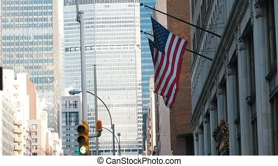 American USA flags in manhattan, telephoto shot