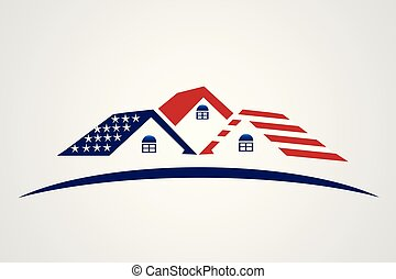 USA Flag patriotic house real estate vector image