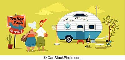 Middle age couple standing near the sign at the trailer park, looking at the vintage camper, EPS 8 vector illustration, no transparencies
