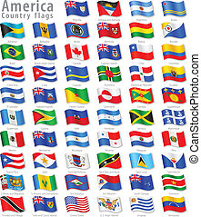 American Vector Waving flag Set - Vector Collection of all...