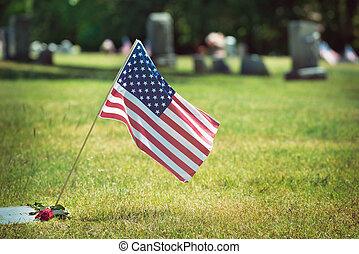 American veteran flag in the cemetery