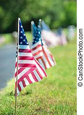 American veteran flags in the cemetery