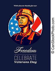 American Veteran Serviceman Greeting Card - Greeting card...
