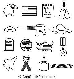 american veterans day celebration outline icons set eps10