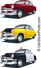 Vectorial icon set of old-fashioned American cars isolated on white backgrounds. Every car is in separate layers. No gradients and blends.