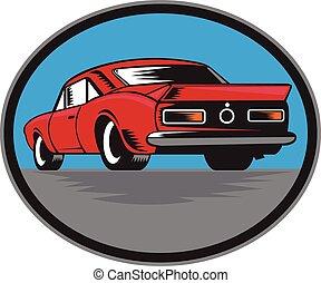 American Vintage Muscle Car Rear Woodcut