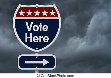 American Vote Here Highway Road Sign