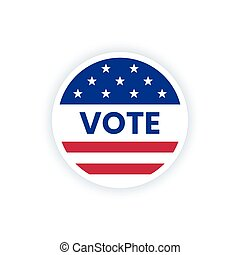 American vote sticker with USA flag and word vote.