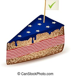 American Voter Cake - American cake with a check mark flag.