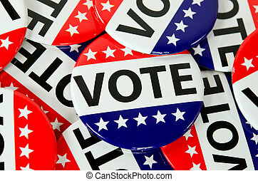 American voting buttons - Close up of patriotic voting ...