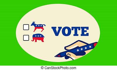 american voting elections democrat - 2d video footage...