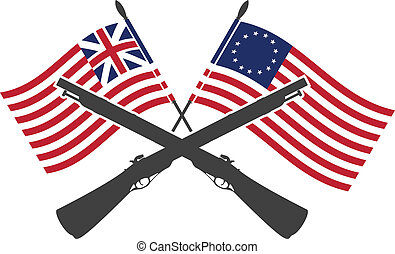 american war of independence. first variant. vector ...