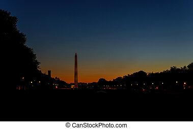 American Washington Monument on the in Washington, DC, USA at dawn