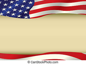 An horizontal american waving flag with a large copy space for your message. Ideal to use for a screen