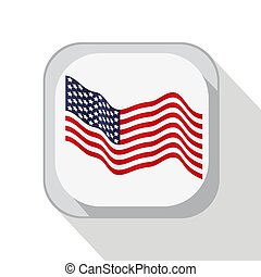 American waving flag. The image on the button. Vector illustrati