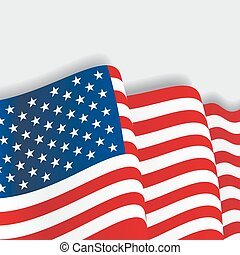 American waving Flag. Vector illustration.