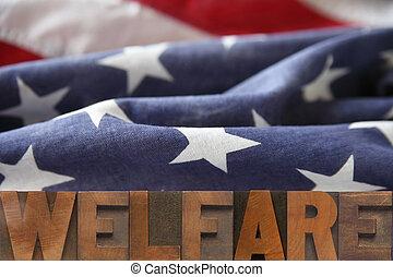 American welfare - the word welfare on an American flag...