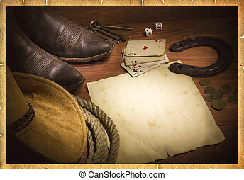 American west background with poker cards and cowboy clothes. Old paper for design