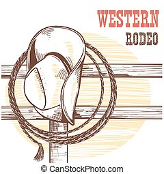 American West cowboy hat and lasso on wood fence.Rodeo...