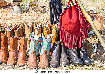 American West rodeo cowboy leather boots rear hay