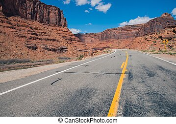 American West Highway. Scenic Utah Highway 128. United States.