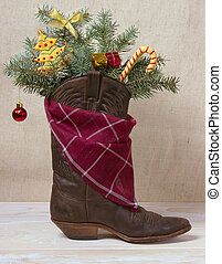 American West leather cowboy boot with Christmas decoration