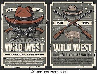 American Wild West cowboy saloon and gun