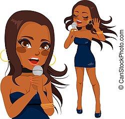 american woman, énekes, váratlanul, afrikai