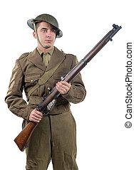 American World War 1 soldier. 1917-18 on white